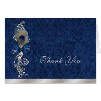 Cartão Obrigado azul do casamento da pena do damasco e do