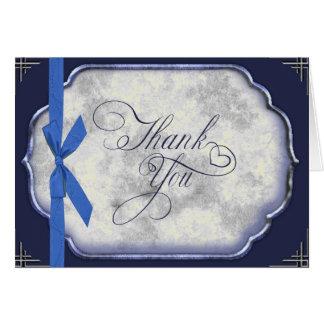 Cartão Obrigado azul do casamento de Love Story você