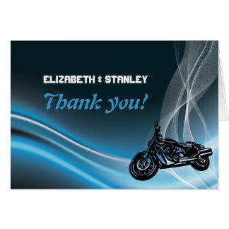 Cartão Obrigado azul do casamento do motociclista da