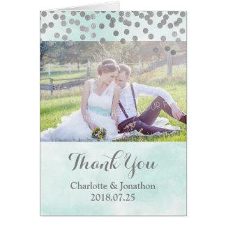 Cartão Obrigado azul do casamento do ponto da prata da