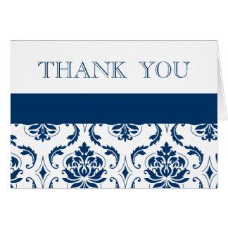 Cartão Obrigado azul do casamento tema damasco você