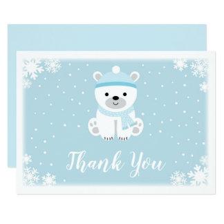 Cartão Obrigado azul do chá de fraldas do urso polar você