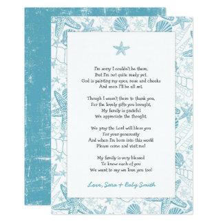 Cartão Obrigado azul do chá de fraldas dos escudos do mar