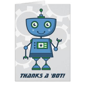 Cartão Obrigado azul do robô você carda obrigados de |