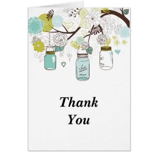 Cartão Obrigado azul dos frascos de pedreiro e dos