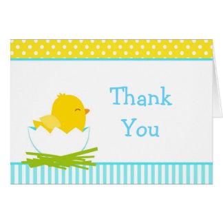 Cartão Obrigado azul e amarelo do pintinho do menino você