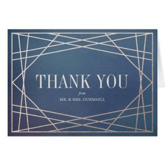 Cartão Obrigado azul profundo Opaline e de Champagne do