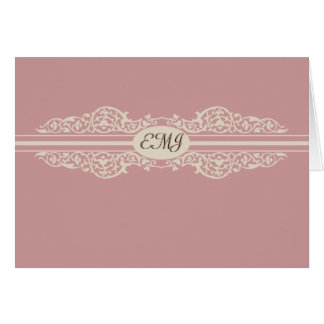Cartão Obrigado barroco do monograma você Notecard