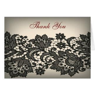 Cartão obrigado bege do casamento vintage do laço preto