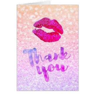 Cartão obrigado beijo violeta vermelho do batom da