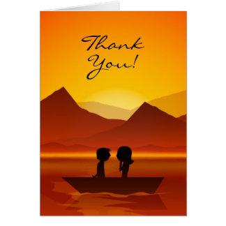 Cartão Obrigado bonito da montanha do barco do casal da
