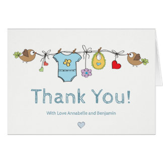 Cartão Obrigado bonito da roupa   do bebê azul você chá