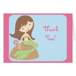 Cartão Obrigado bonito da sereia do KRW você notas