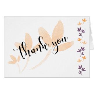 Cartão Obrigado bonito da tipografia das folhas da