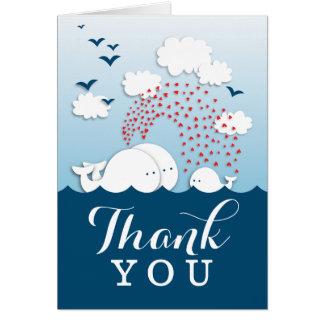 Cartão Obrigado bonito das baleias brancas do casal você