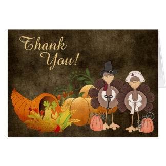 Cartão Obrigado bonito do casal de Turquia do outono do