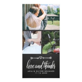 Cartão Obrigado bonito do casamento do coração do quadro