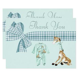 Cartão Obrigado bonito do chá de fraldas do menino azul