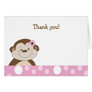 Cartão Obrigado bonito do ponto do rosa do macaco do bebê