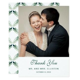 Cartão Obrigado botânico verde do teste padrão | da