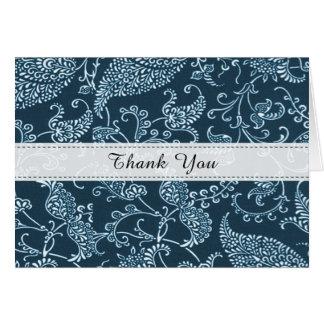Cartão Obrigado branco azul da inicial do monograma do