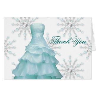 Cartão Obrigado branco azul de Quinceanera dos flocos de