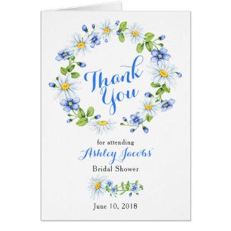 Cartão Obrigado branco azul do chá de panela da margarida