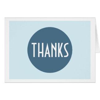 Cartão Obrigado branco azul legal da planície simples