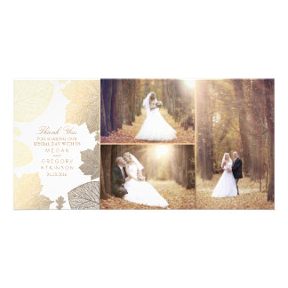 Cartão Obrigado branco da foto do casamento das folhas da
