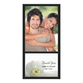 Cartão Obrigado branco da orquídea e do casamento do véu