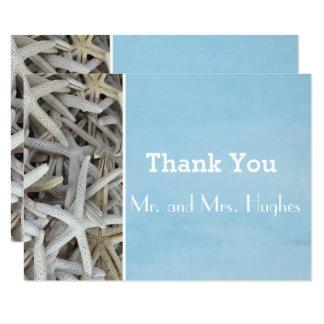 Cartão Obrigado branco do casamento de praia do seashell