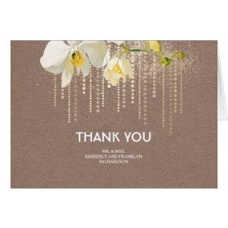 Cartão Obrigado branco do casamento do brilho do ouro das