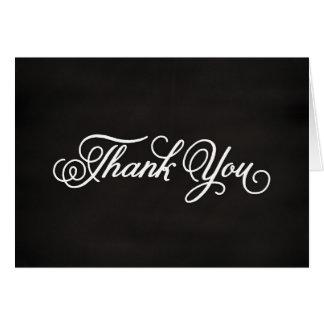 Cartão Obrigado branco do quadro da caligrafia você