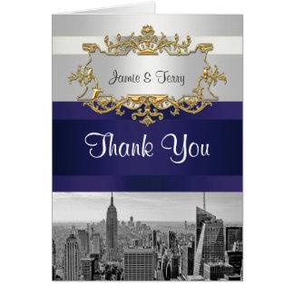 Cartão Obrigado branco dos azuis marinhos de BW 05 da