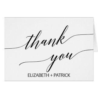 Cartão Obrigado branco e preto elegante da caligrafia
