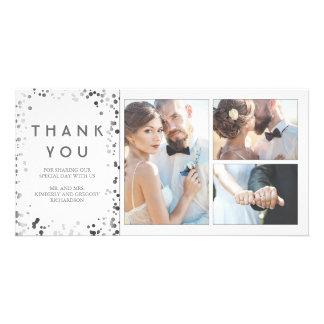 Cartão Obrigado branco elegante do casamento dos confetes
