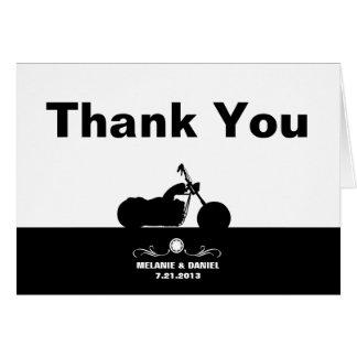 Cartão Obrigado branco preto da silhueta do motociclista