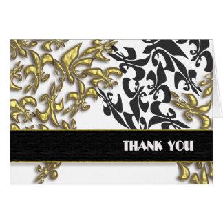 Cartão Obrigado branco preto do damasco da flor de lis do