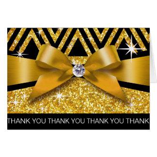 Cartão Obrigado brilha ouro do diamante de Chevron Bling