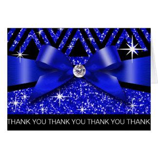 Cartão Obrigado brilha safira do diamante de Chevron