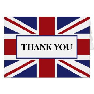 Cartão Obrigado britânico do casamento da bandeira de