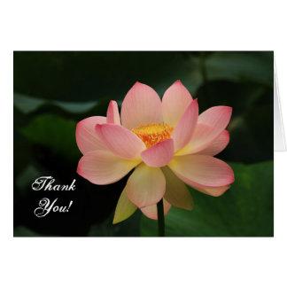 Cartão Obrigado budista cor-de-rosa da flor de Lotus da