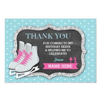 Cartão Obrigado carda a festa de aniversário do patinagem