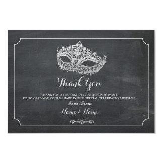 Cartão Obrigado carda a prata do partido da máscara do