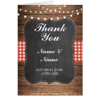 Cartão Obrigado carda o casamento de madeira da