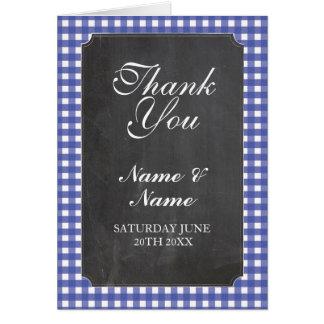 Cartão Obrigado carda o giz azul nupcial do casamento da