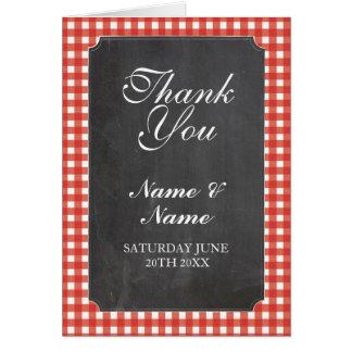 Cartão Obrigado carda o giz vermelho nupcial do casamento