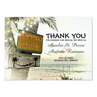 Cartão Obrigado casamento de praia do destino