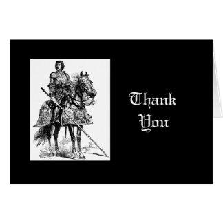Cartão Obrigado, cavaleiro do divertimento na armadura de