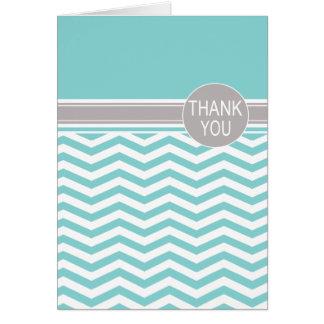 Cartão Obrigado chique da cerceta do monograma | de